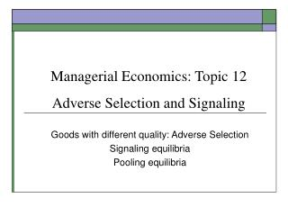 Administrative Financial aspects: Point 1 2 Unfavorable Choice and Flagging