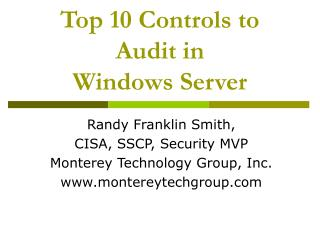 Main 10 Controls to Review in Windows Server