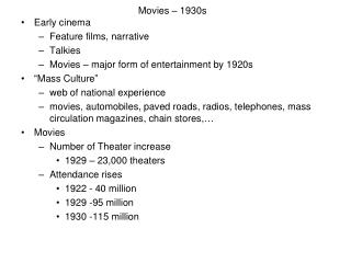 Motion pictures – 1930s