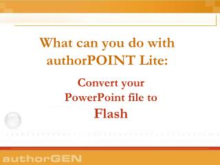 What would you be able to do with authorPOINT Lite: