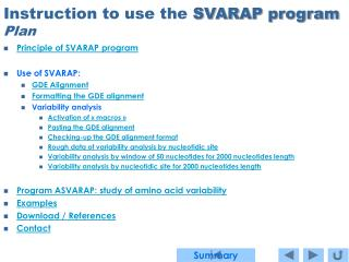 Guideline to utilize the SVARAP program Arrangement
