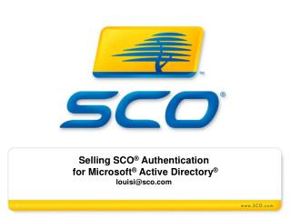 Offering SCO ® Validation for Microsoft ® Dynamic Registry ® louisi@sco.com