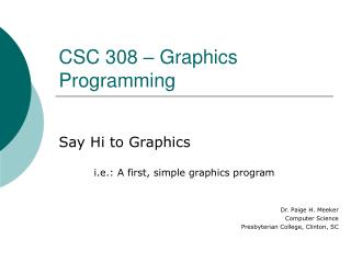 CSC 308 – Design Programming