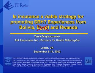 Is protection a suitable system for advancing SRH? Encounters from Bolivia, Egypt and Rwanda