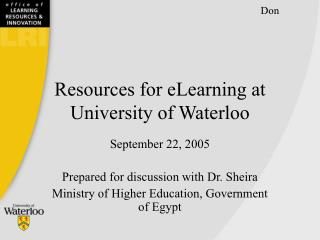 Assets for eLearning at College of Waterloo