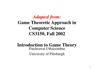 Adjusted from: Amusement Theoretic Methodology in Software engineering CS3150, Fall 2002 Prologue to Diversion Hypothesi