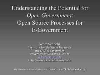 Understanding the Potential for Open Government : Open Source Forms for E-Government