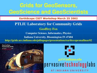 Networks for GeoSensors, GeoScience and GeoScientists