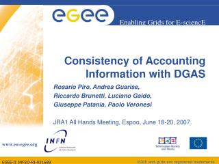 Consistency of Bookkeeping Data with DGAS