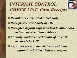 Inside CONTROL CHECK LIST: Money Receipts