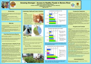 Developing More grounded: Access to Solid Nourishments in Berens Waterway Nadine Tonn, Group Wellbeing Sciences,