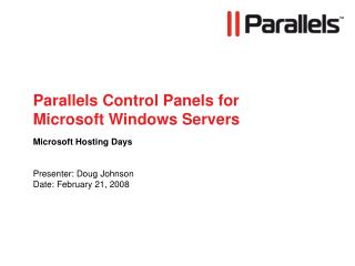 Parallels Control Boards for Microsoft Windows Servers