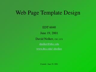 Website page Format Outline