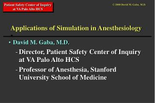 Uses of Recreation in Anesthesiology