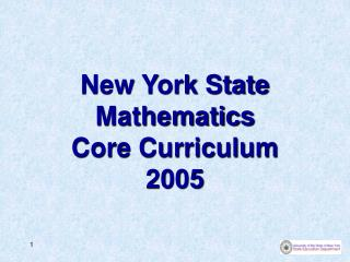 New York State Arithmetic Central subjects 2005