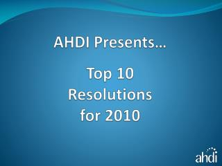Main 10 Resolutions for 2010