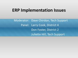 ERP Usage Issues