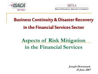 Business Progression and Calamity Recuperation in the Monetary Administrations Division Parts of Danger Alleviation in t