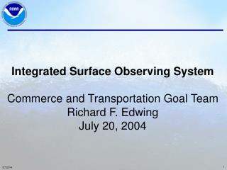 Incorporated Surface Watching Framework Business and Transportation Objective Group Richard F. Edwing July 20, 2004