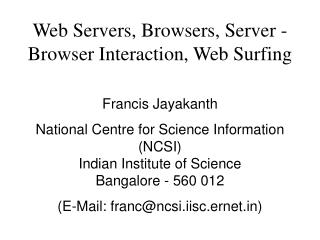 Web Servers, Programs, Server - Program Cooperation, Web Surfing