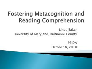 Cultivating Metacognition and Perusing Appreciation