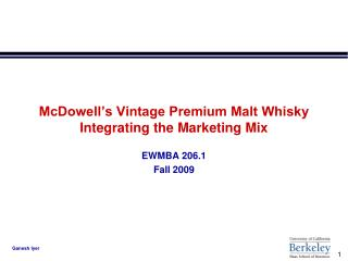 McDowell's Vintage Premium Malt Whisky Coordinating the Promoting Blend