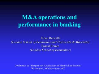 M&A operations and execution in keeping money