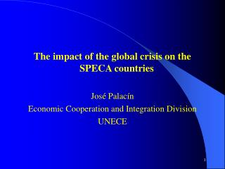 The effect of the worldwide emergency on the SPECA nations Jos