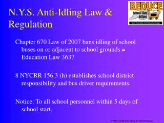 N.Y.S. Hostile to Idling Law Regulation