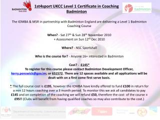 1st4sport UKCC Level 1 Authentication in Training Badminton