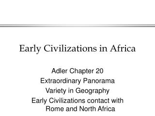 Early Human advancements in Africa