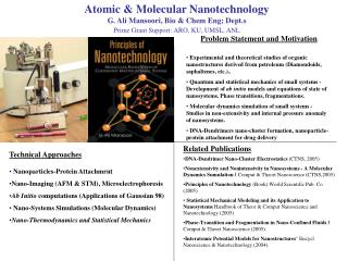 Nuclear and Sub-atomic Nanotechnology G. Ali Mansoori, Bio and Chem Eng; Dept.s Prime Stipend Support: ARO, KU, UMSL, AN