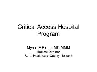 Basic Access Doctor's facility Program