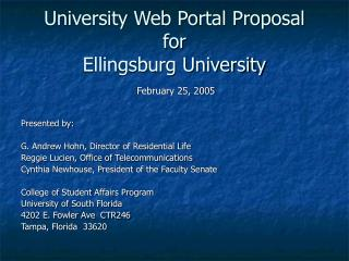College Web Entryway Proposition for Ellingsburg College