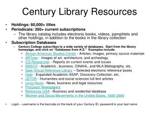 Century Library Assets
