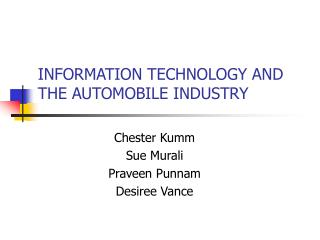 Data Innovation AND THE Car Business