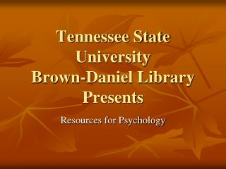 Tennessee State College Chestnut Daniel Library Presents