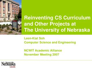 Reevaluating CS Educational modules and Different Ventures at The College of Nebraska