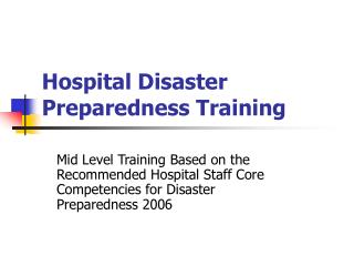 Healing facility Catastrophe Readiness Preparing
