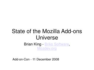Condition of the Mozilla Additional items Universe