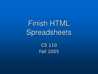 Complete HTML Spreadsheets