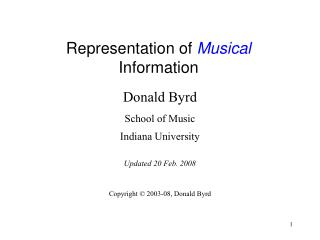 Representation of Musical Data