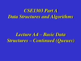 CSE1303 Section An Information Structures and Calculations Address A4