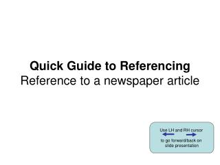 Speedy Manual for Referencing Reference to a daily paper article