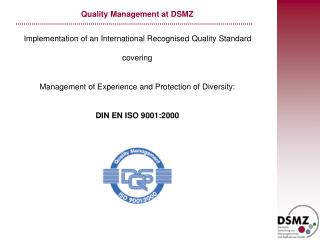 Quality Administration at DSMZ
