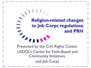 Religion-related changes to Employment Corps regulations and PRH