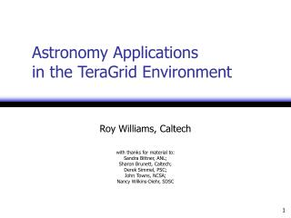 Stargazing Applications in the TeraGrid Environment
