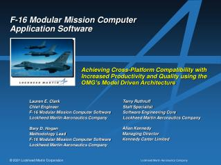 F-16 Measured Mission PC Application Programming