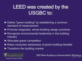 LEED was made by the USGBC to: