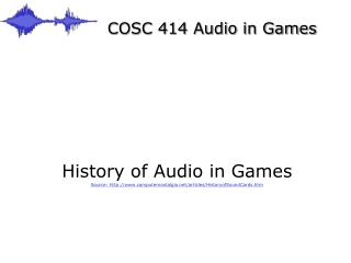 COSC 414 Sound in Diversions